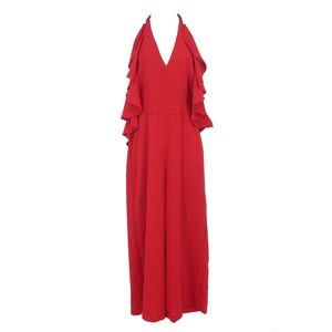Romeo & Juliet Couture Red Halter Jumpsuit  (F9)